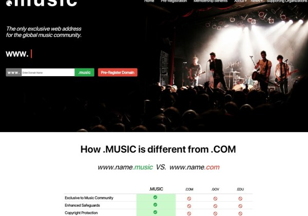_MUSIC Domain Name Extension - DotMusic - TLD