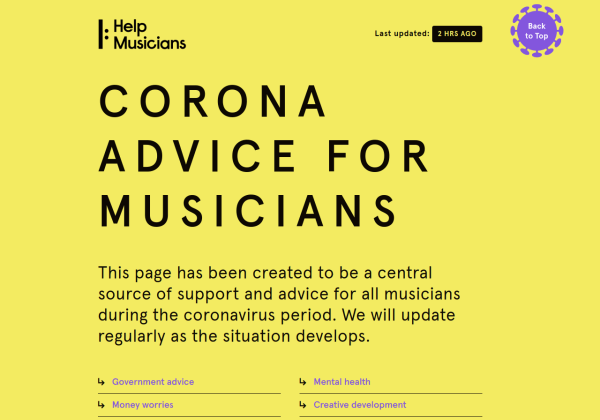 Corona Musicians – – Advice and Support from Help Musicians UK