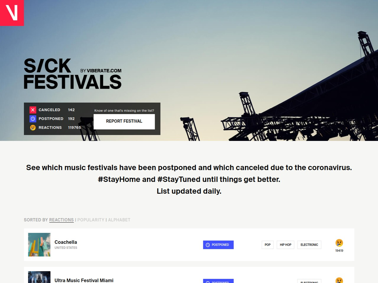 List of canceled and postponed festivals updated daily