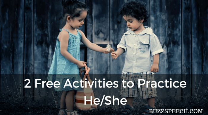Free Activities to Practice Pronouns He/She