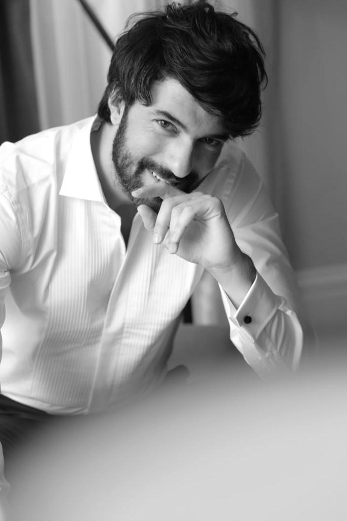Engin Akyurek cure smile in white shirt black and white turkish actor photo