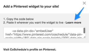 Pinterest widget popup
