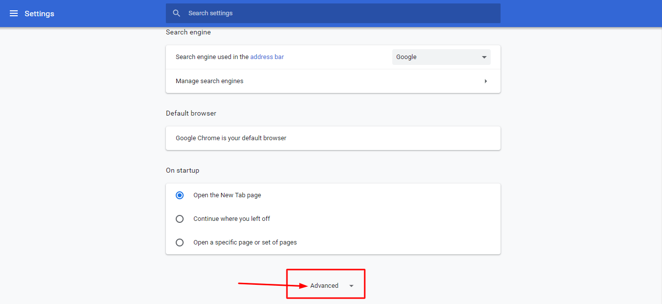 Advance setting google chrome