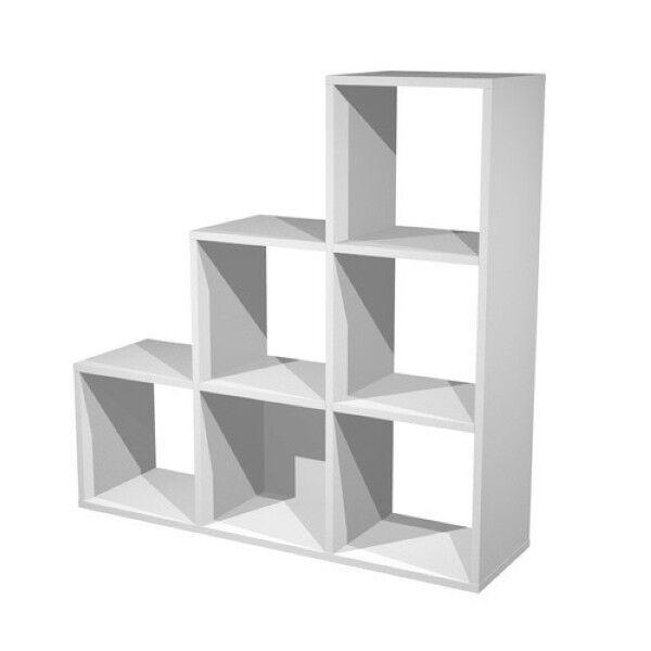 6 cases en escalier blanc