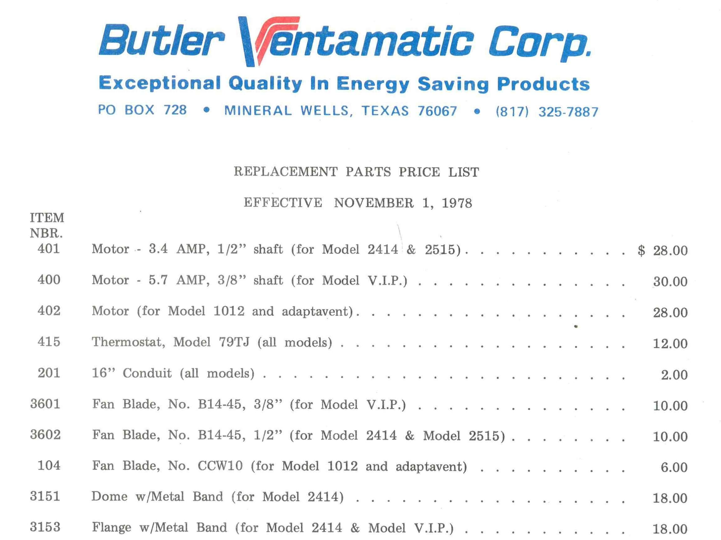 A catalog from 1978 showing the prices of replacement parts and components for Butler Ventamatic products.