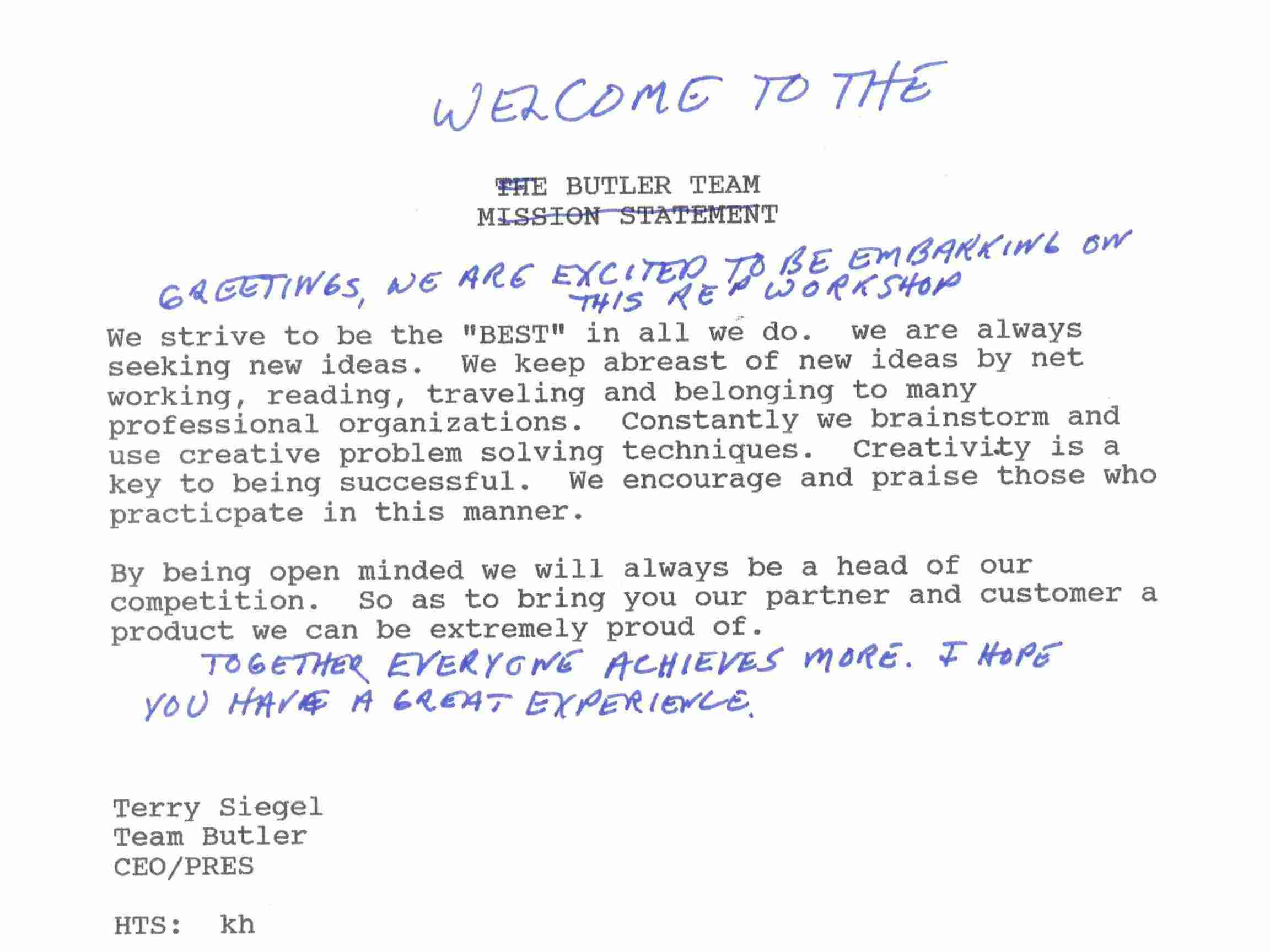 Notes handwritten by CEO Terry Siegel on a typed memo welcoming new hires to the organization.