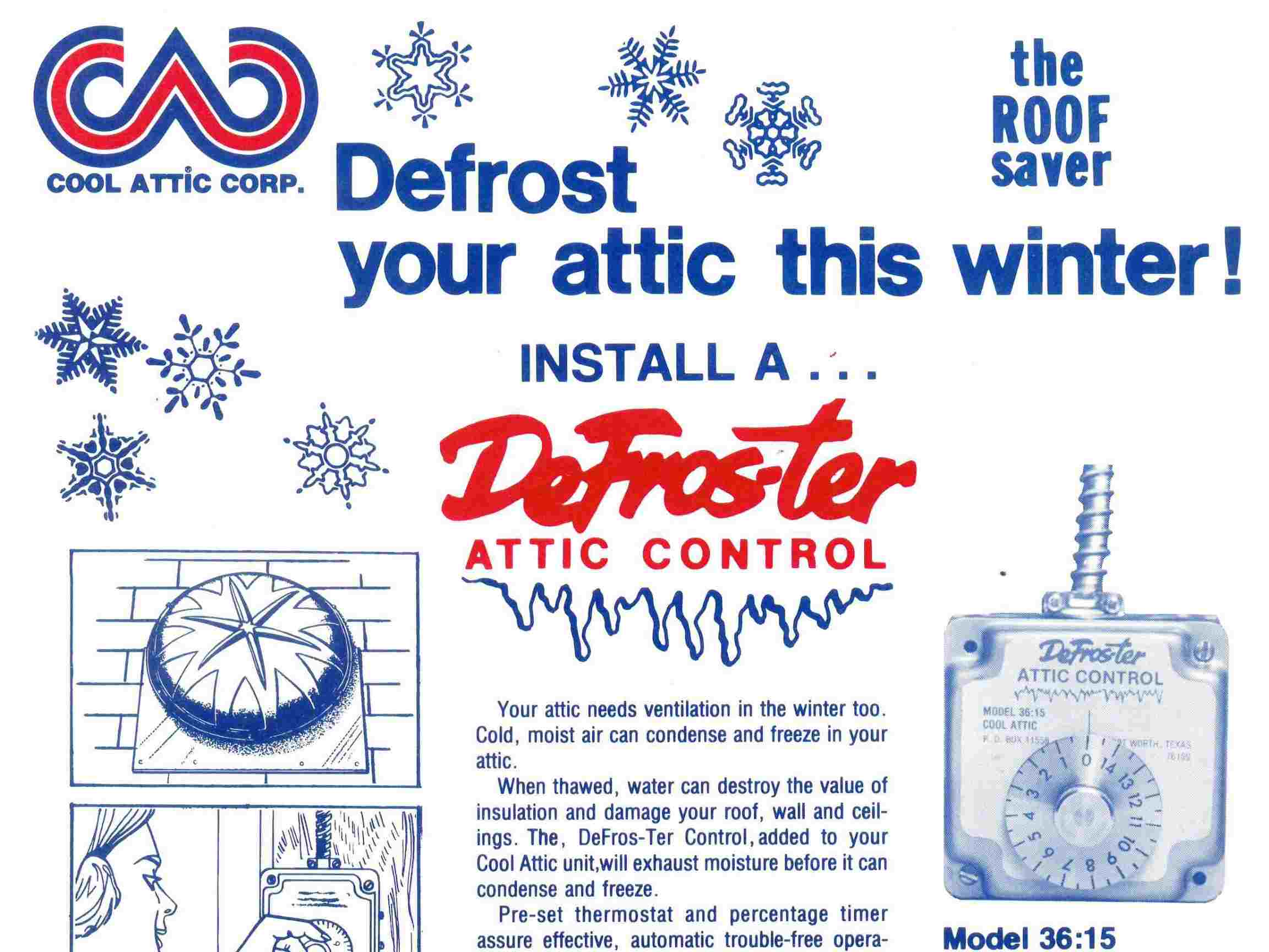 Old advertisement showing Ventamatic's former Attic DeFroster control under the Cool Attic brand name.