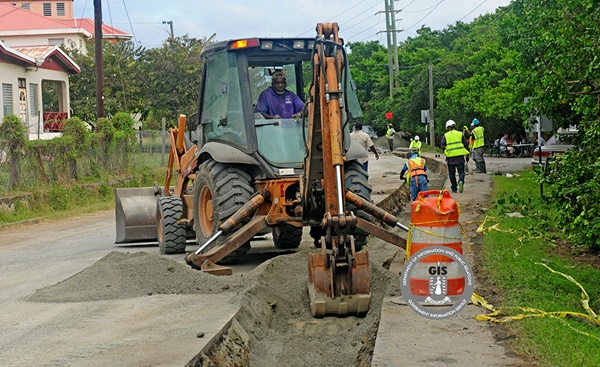 Road work for the national sewerage project in East End