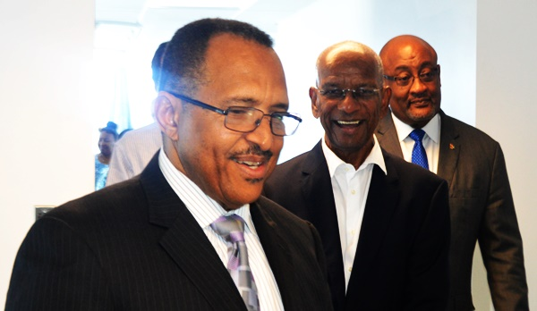 Left to right - Owner of Bougainvillea Clinic Dr Heskith Vanterpool, Premier Dr D Orlando Smith, and Minister of Health and Social Development Ronnie Skelton