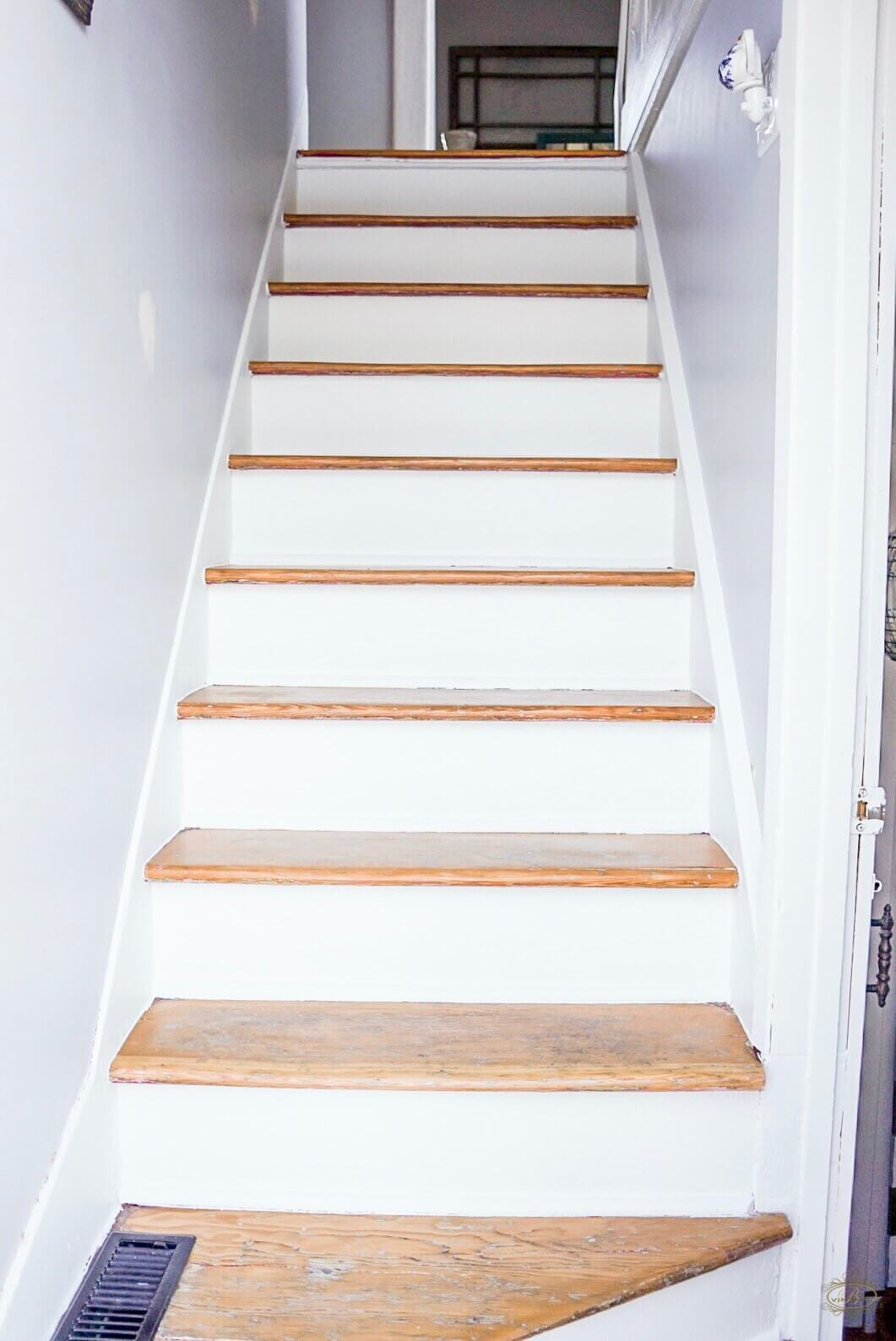 After White U0026 Wood Staircase