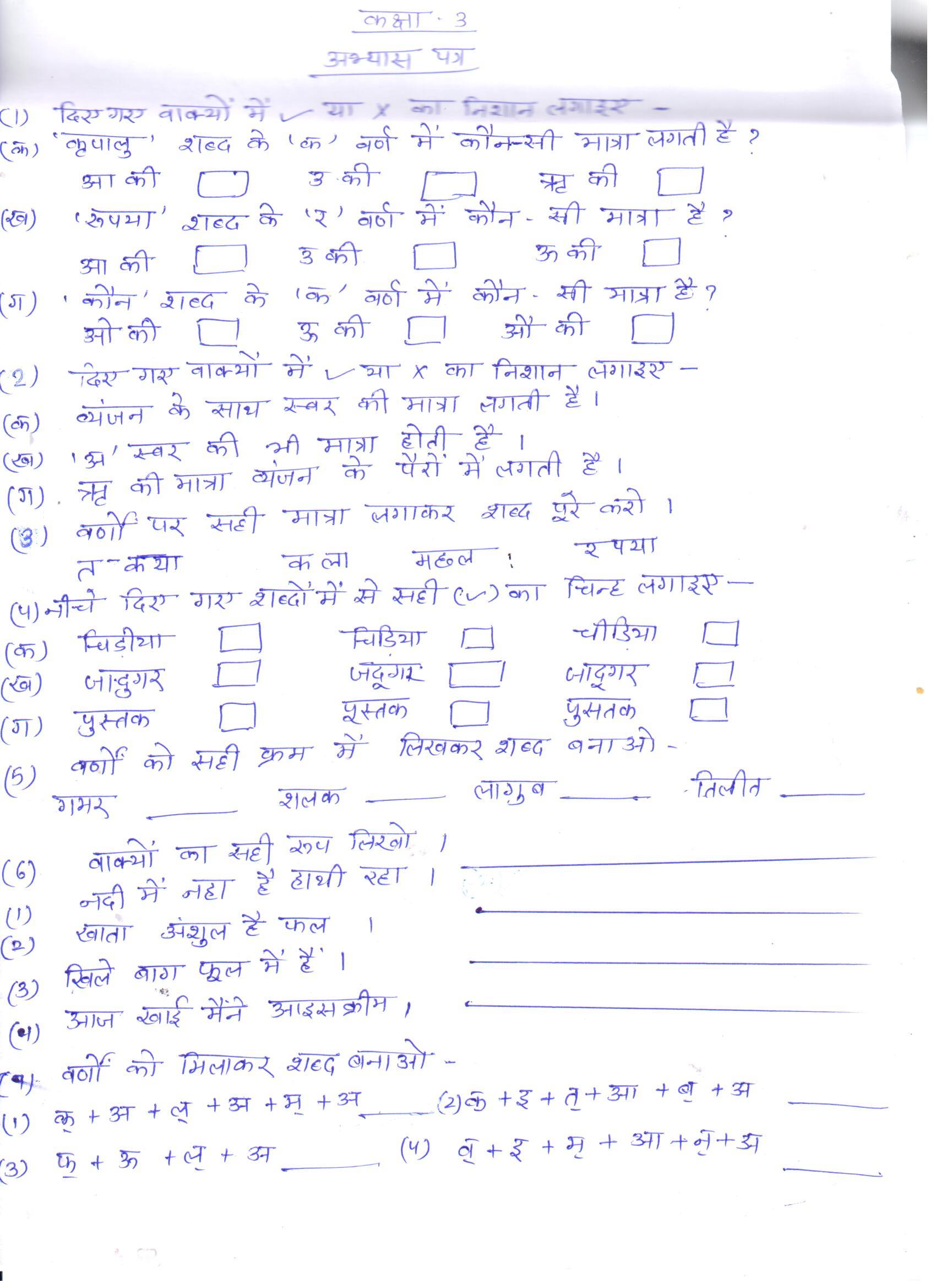 Class 3 Worksheet Hindi