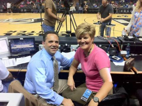 Andrew Monaco and Brenda VanLengen prior to Minnesota / San Antonio WNBA game 7/19/13