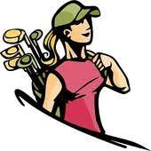 clip art woman golfer carrying clubs