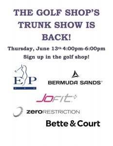 6/13/19 Trunk Show at Griff Golf Shop