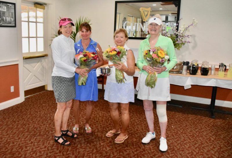 7/30/19 Club Champs Tina, Kaisa, Tommie, Dot with flowers