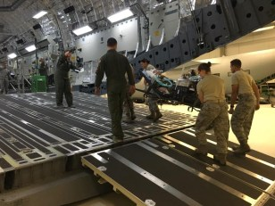 Fully loaded C17 Globemaster III carrying multiple CCATT patients during annual exercises (August 2016, Wright Patterson AFB, Dayton, OH).