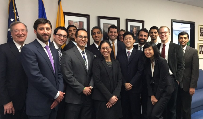BWH residents and Management Leadership Track leaders with U.S. Surgeon General Vivek Murthy (center, back row).