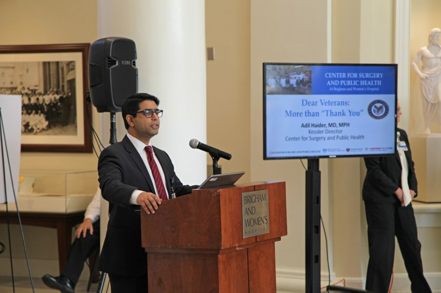Adil Haider talks about trauma care during BWH's Veterans Day event.