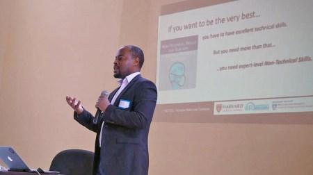 Egide Abahuje leads NOTSS training at the University of Rwanda.
