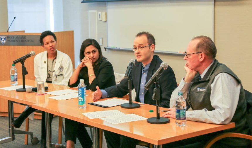 From left: Michelle Morse, Paula Chatterjee, George Karandinos and Paul Farmer