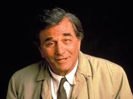 Actor Peter Falk as bumbling detective Columbo in the TV show of the same name.