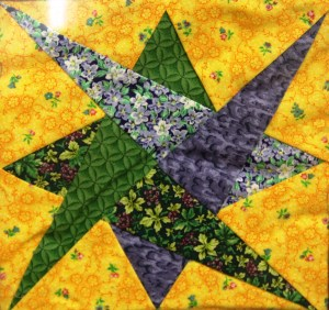 A piece from a quilt that was given to Henske by the LAM Foundation.