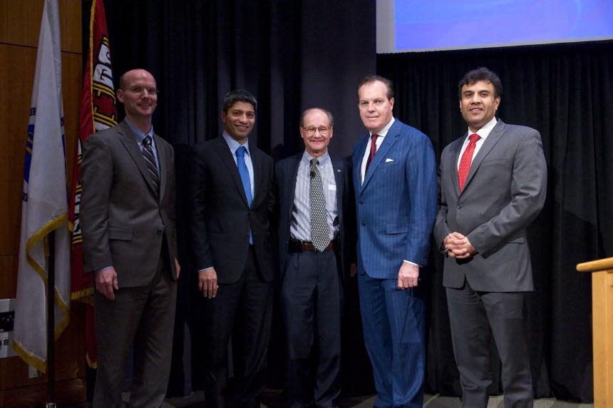 From left, David McCready, Sanjay Pathak, guest speaker Kim Eagle, John Byrne and Mandeep Mehra