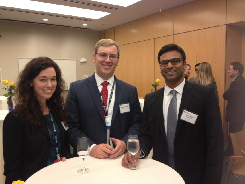 From left: 2014 Deland Fellows Courtney Pelley and Matthew Timmel, with Bhrunil Patel, former Deland Fellow