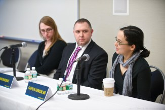 Carolyn Johnson (far right), with Jessica Bartlett and David Hurlburt