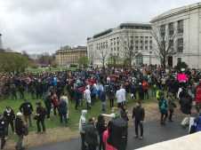 Hundreds gathered to hear speakers on the HMS Quad