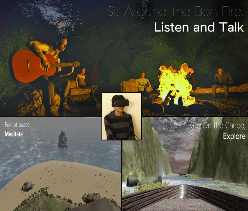 "Screenshots from ""Triloka and an image of what the virtual headset looks like (inset)"