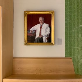 Braunwald's portrait is now displayed next to the Eugene Braunwald Tower elevators. (Photo courtesy of @JamesNLuo)