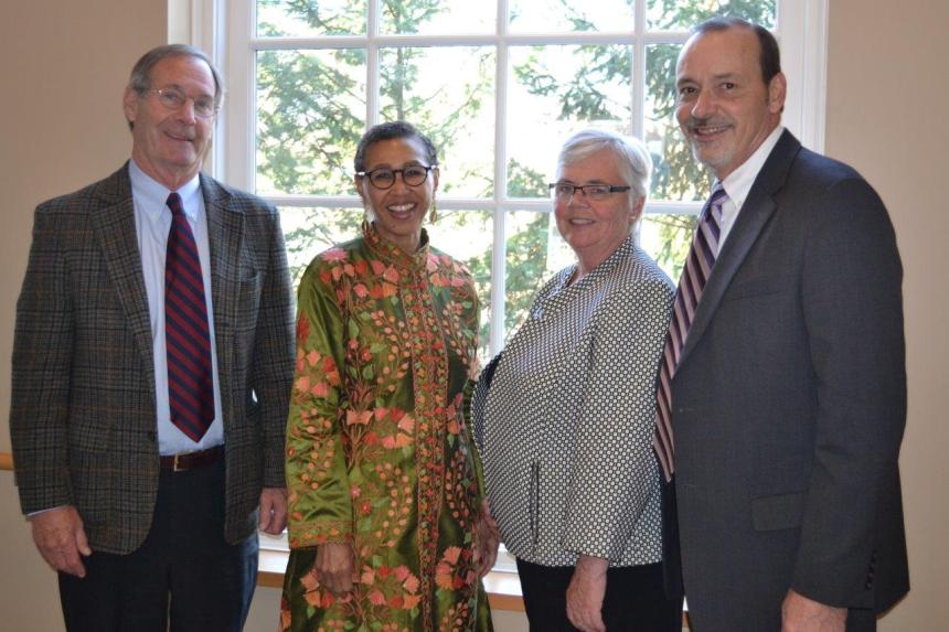 Members of the Spiritual Care Services team, from left: Anthony Whittemore, MD, The Rev. Gloria White-Hammond, MD, Kathleen Gallivan, SNDdeN, PhD, and The Rev. John Hudson