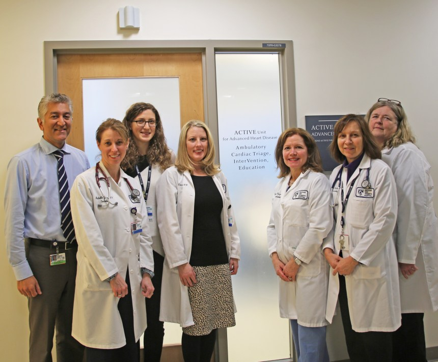 Members of the ACTIVE Unit, from left: Akshay Desai, MD; Michelle Young, NP; Gretchen Stern, PharmD;   Laura Burpee, NP;  Elaine Shea, RN;  Joanne Weintraub, NP;  and Irene Cooper, RN.