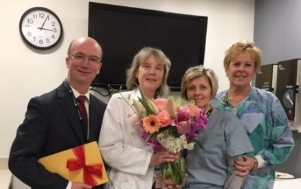 From left, Partners in Excellence Award recipients Chris Hughes and Carol Kale are joined by Ann Leary, PACU charge nurse, and Cyndi Slater.