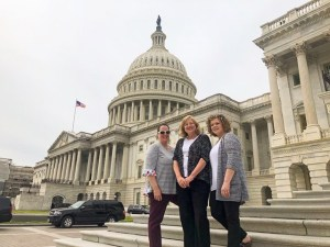From left, Nichole Young, Mimi Pomerleau and Karen Manganaro visit Capitol Hill this spring.
