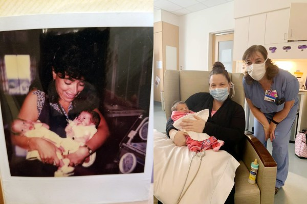 side-by-side pictures in NICU in 1985 and 2020