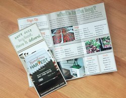aka design print example brochure for Hometown Harvest home delivery service