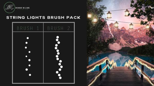 nois7 style string lights, photoshop brush pack, tutorial, free brushes