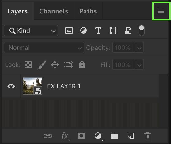 photoshop layers panel options