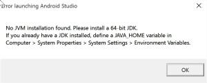 No JVM installation found