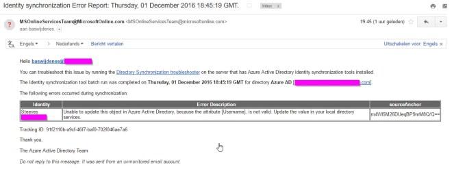 Mail notification Identity synchronization