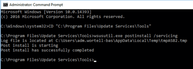 An error occured trying to connect the WSUS server.