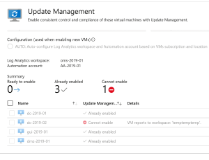 Cannot enable - VM Reports to workspace 'OTHERWORKSPACE'.