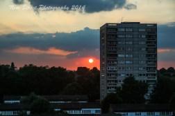 Tower block sunset