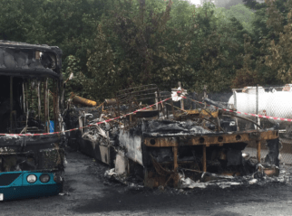 The Remains of Alexander ALX400 T305FGN following the Fire in Pwllheli