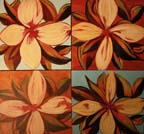 4 square canvasses of tropical flowers.