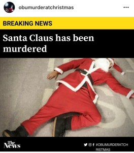 Image of spoof news article showing a murdered Santa Claus, with headline 'Breaking news. Santa Claus has been murdered'.