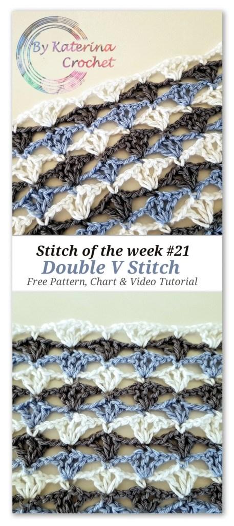 Double V Stitch: Free pattern, Chart & Video Tutorial