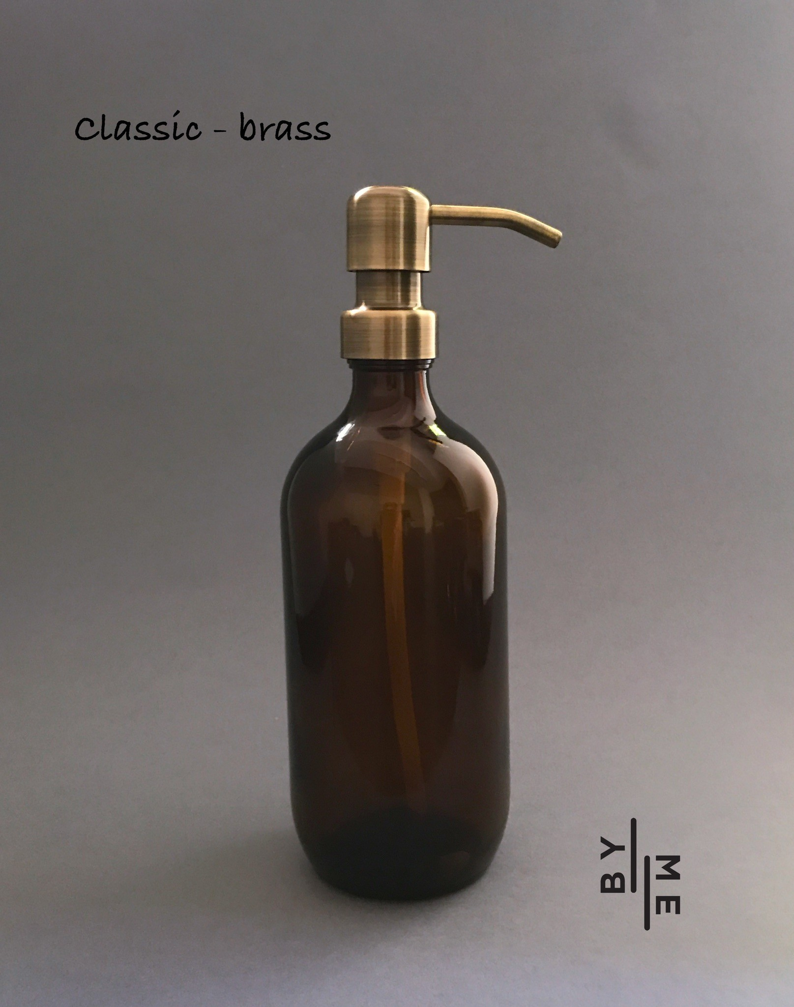 Amber Glass Soap Dispenser With Classic Real Metal Pump